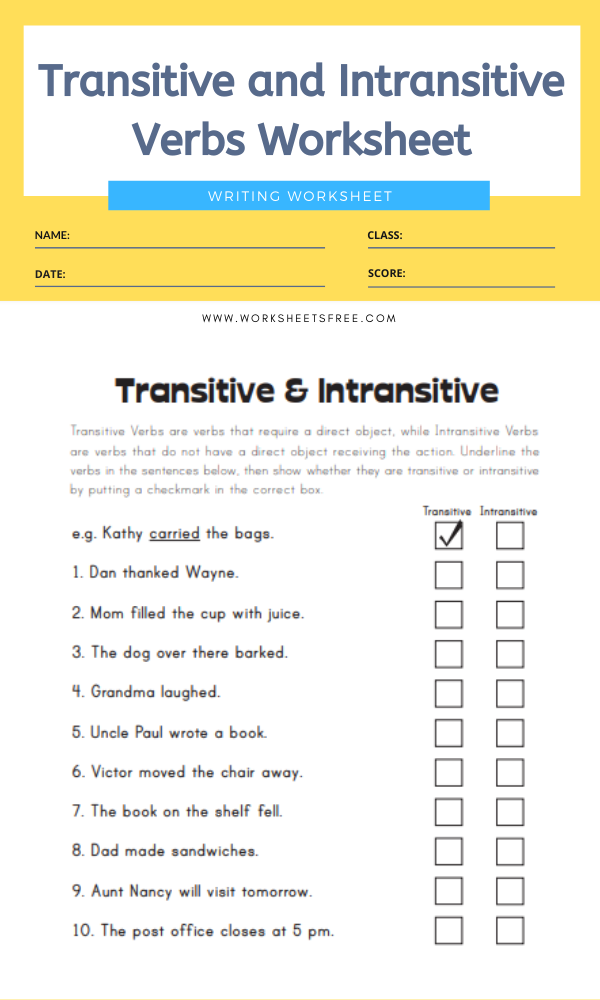 31++ Cool transitive and intransitive verb worksheet Wonderful