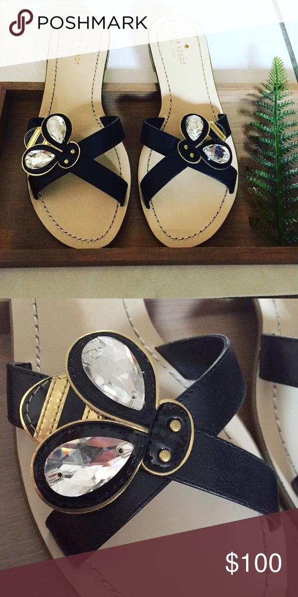 9590d72c5837 Kate Spade Bee Sandals Brand new leather sandals with embellished bee  design. Can ship with