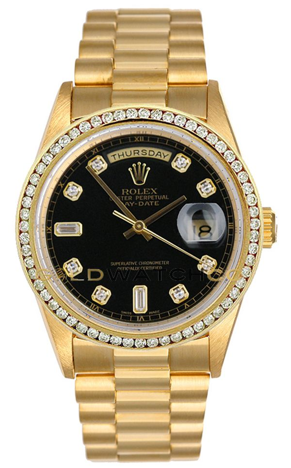 00fd4db1bdb Rolex Mens 18K Yellow Gold President Day Date, Custom Added Black Diamond  Dial & Diamond Bezel.