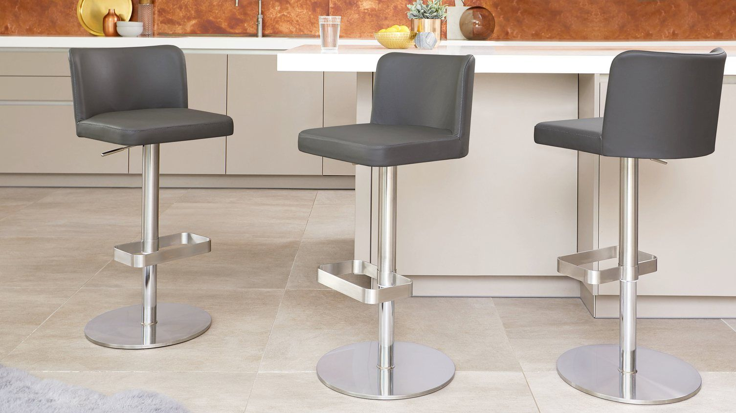 Dark Grey Gas Lift Leather Bar Stools Designer Bar Stools Modern Kitchen Stools Bar Stools