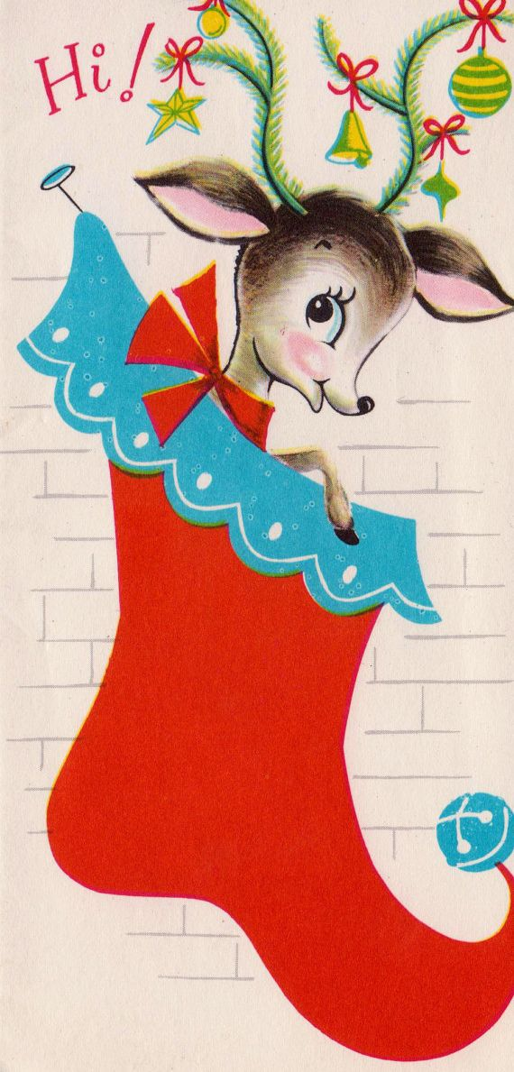 Vintage Christmas card ~ adorable deer in stocking.