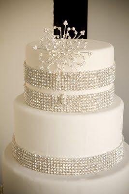 Diamond Wrap On White Wedding Cake Diamond Wedding Cakes Bling Wedding Cakes Simple Wedding Cake