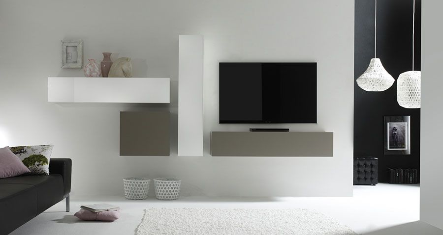 Ensemble TV mural design laqué gris mat et blanc brillant MICHELE