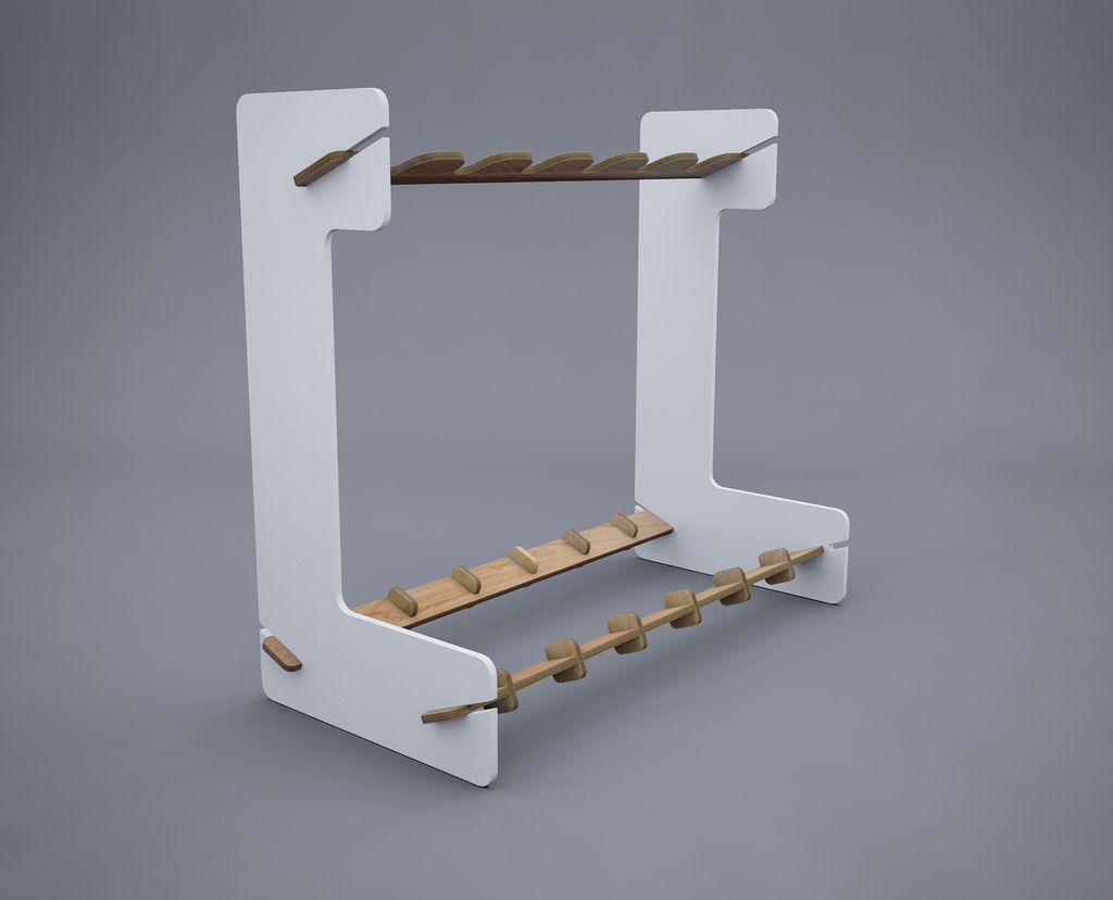 https://flic.kr/p/8DFevd | Guitar Rack Assembled | I wanted to get a guitar stand to hold 6 electric guitars but didn't like anything I could find online.  I found that it's possible to get sheets of plywood up to 900mm x 600mm laser cut so I've designed this rack to be cut from one sheet of wood with the minimum wastage.  The parts slot together and, if the laser is accurate enough, shouldn't need to be glued. I'll be getting this built as soon as possible. I reckon I'd probably paint the…