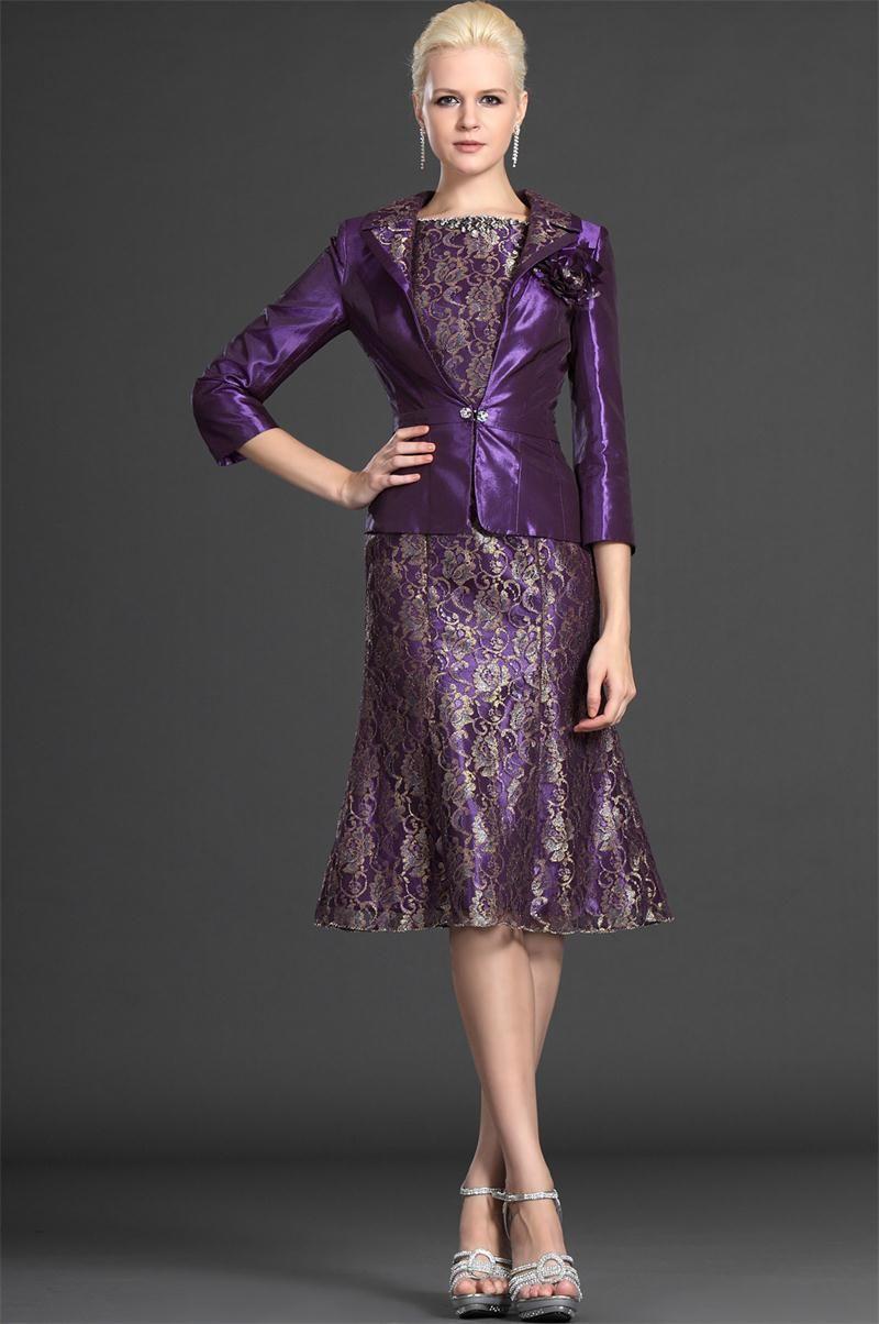 Knee Length Mother Of The Bride Dress 2015 Short Lace Purple Vestidos De Madre La