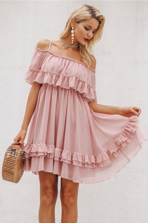 Sweet Ruffle Dress Chiffon Summer Dress Summer Dresses For Women Short Summer Dresses [ 1179 x 786 Pixel ]