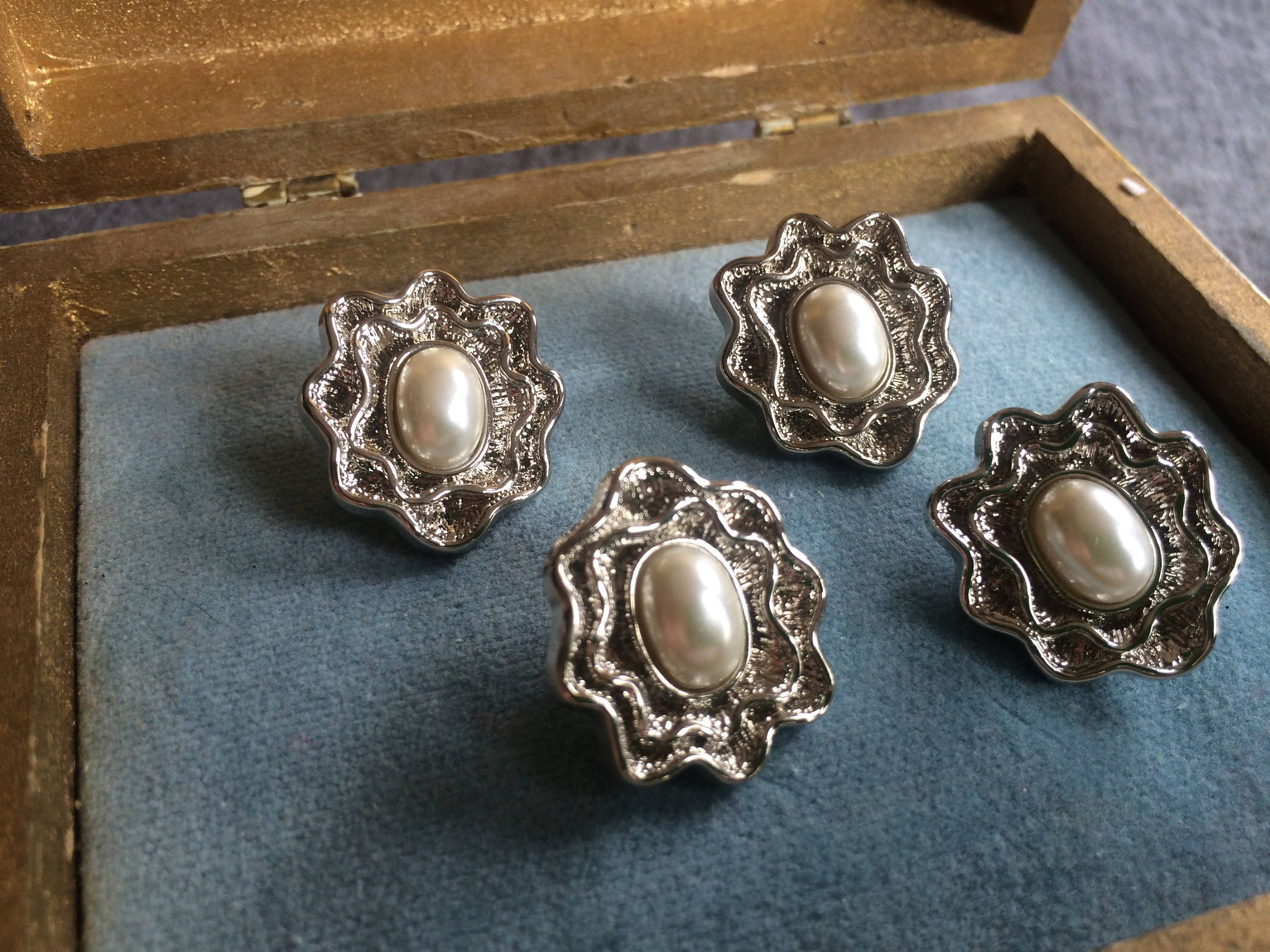 Set of 4 Silver tone Oyster and Faux Pearl Fashion Buttons by CobbWebbTreasures on Etsy