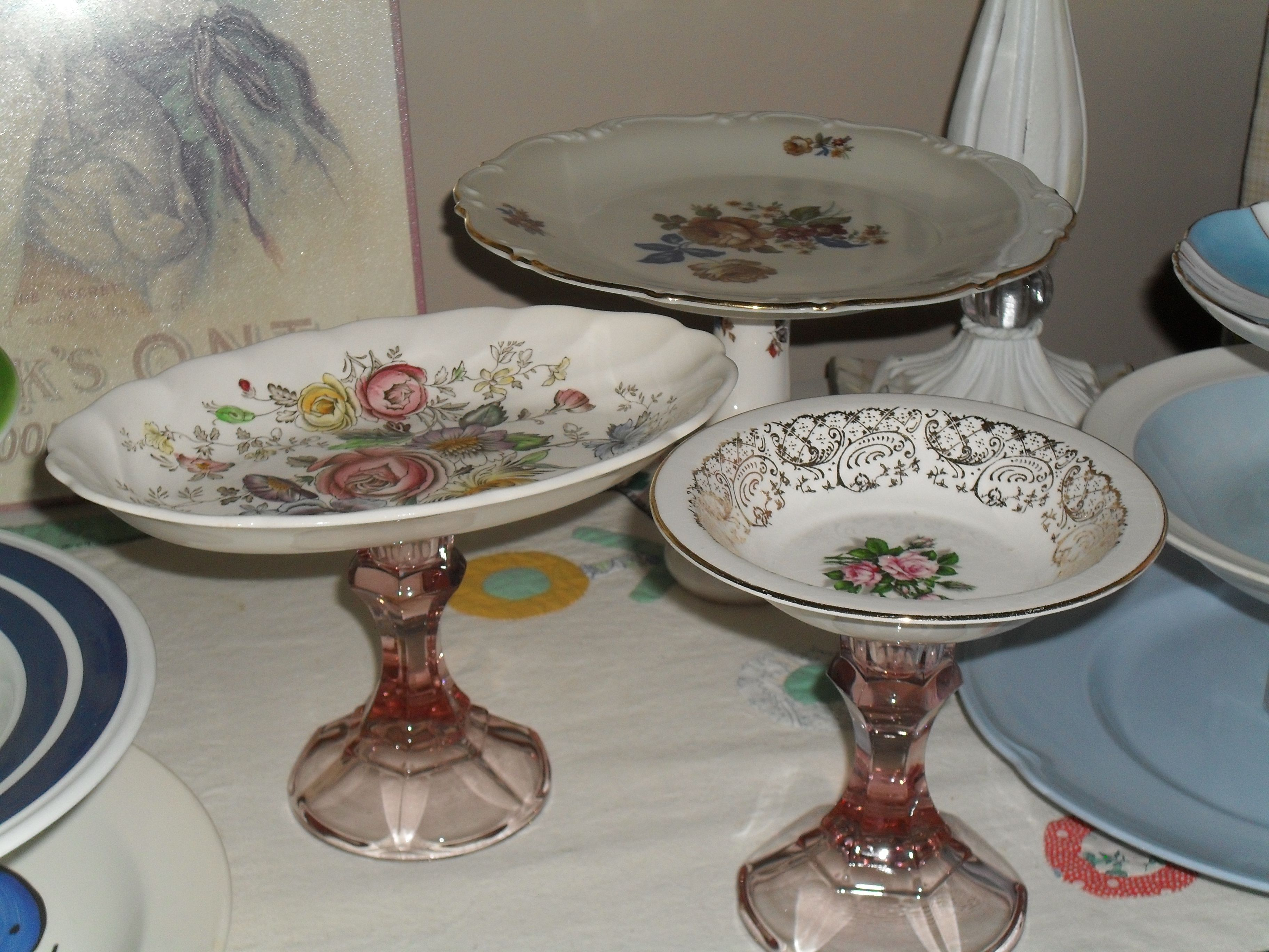 """Oh So Pretty Soap Dishes/Earring or Jewelry Holders or Whatever-You-Want-To-Use-Them-For Shabby Chic Upcycled Dishes. Made from Vintage China and Depression Glass 'like"""" pink Candleholders....Just LOVELY!!"""