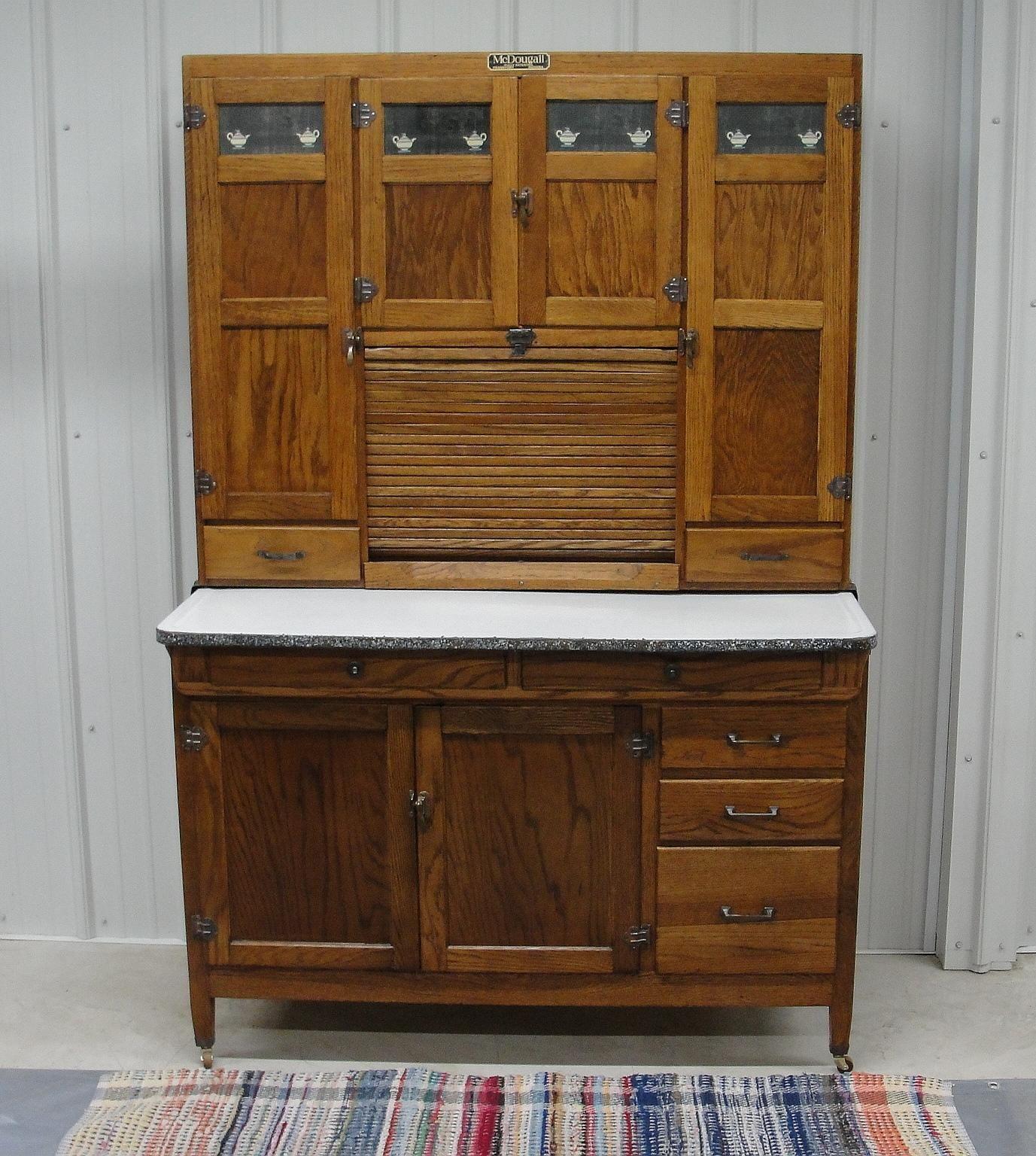 Vintage 1920 Mcdougall Oak Kitchen Cabinet With Original Tea Pot Door Inserts Bread Butter Antiques Oak Kitchen Cabinets Oak Kitchen Kitchen Cabinets