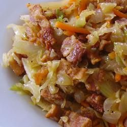 "Fried Cabbage with Bacon, Onion, and Garlic | ""Finally! A recipe for cabbage that the whole family likes. :D We have several ""tender tongues"", so in the future I will adjust the pepper down a bit for our tastes. Still, highly recommend this recipe."""