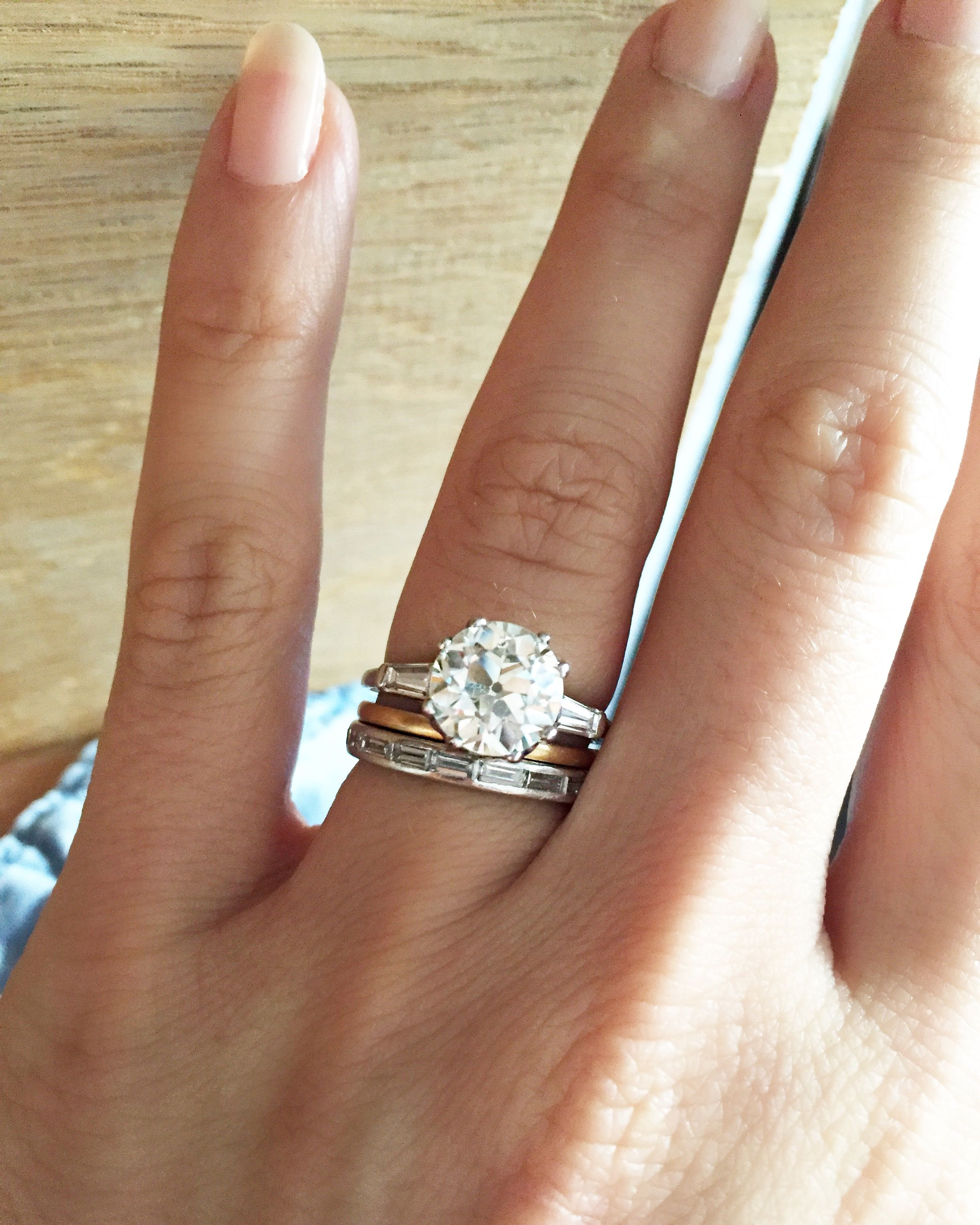 2 60 carat Old European Cut Diamond Engagement Ring with tapered