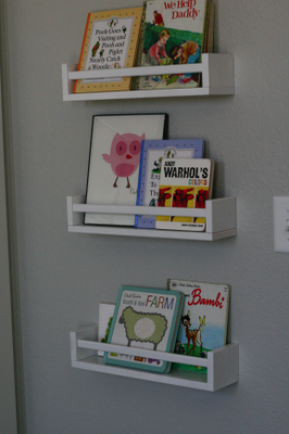 Make bookshelves from $4 ikea spice racks. Do this for the boys in their bunk bed space.