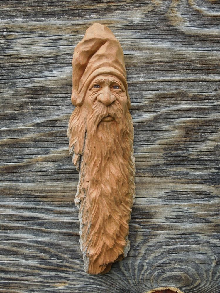 Original wood carving spirit gnome wizard ooak forest face