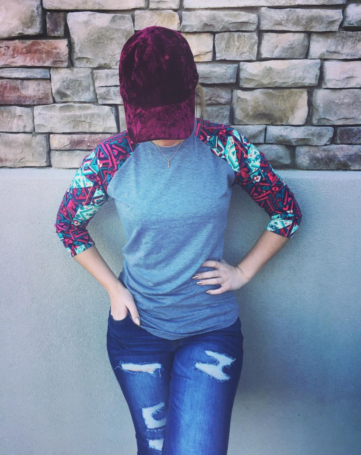 2f36ee0f LuLaRoe Randy and jeans. Casual outfit. Ripped jeans. Crushed velvet  baseball cap. Baseball tee. Tribal print.