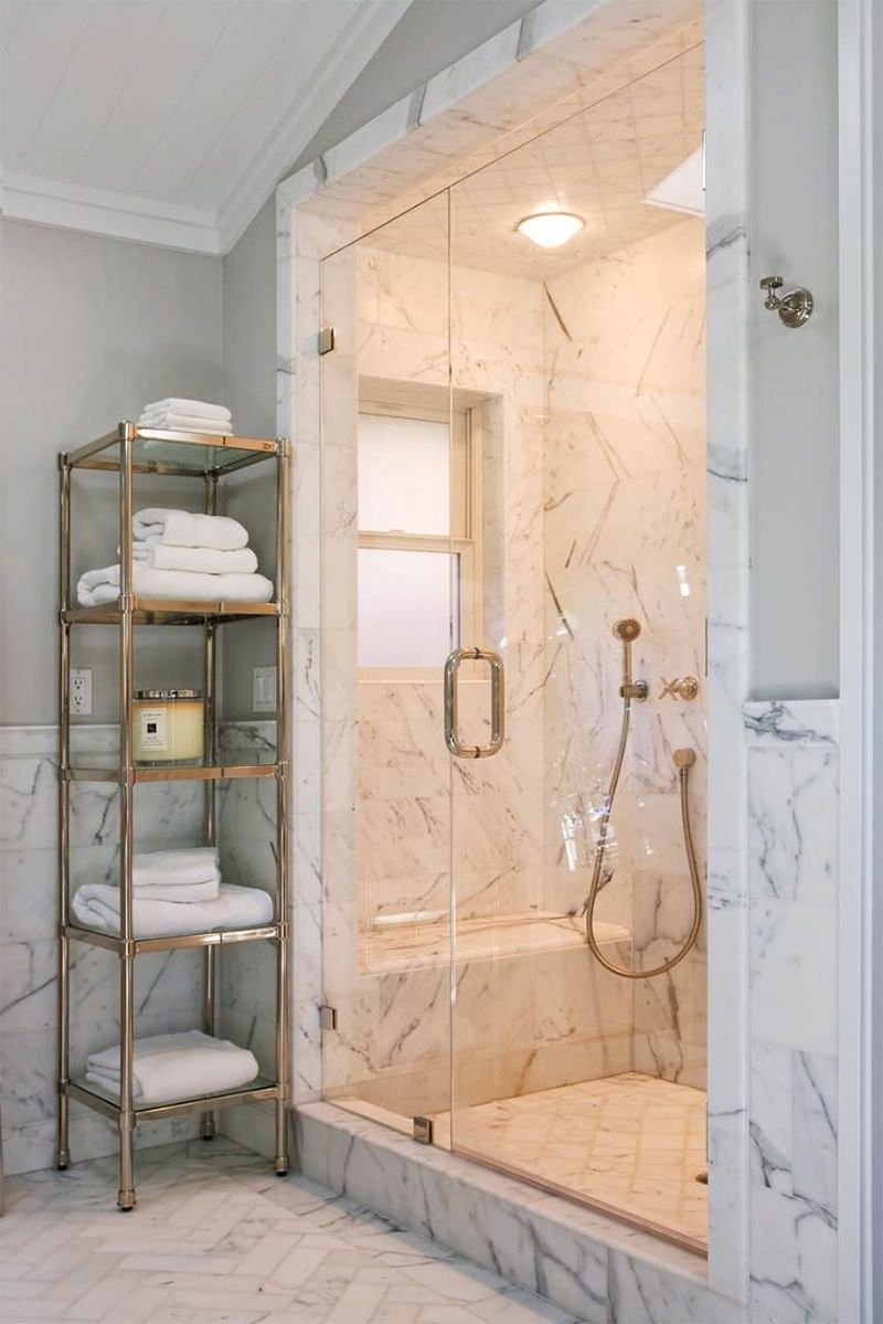 The 15 Best Tiled Bathrooms On Pinterest White Marble Walk In Shower Gold Hardware Marble Bathroom Designs Marble Shower Walls Traditional Bathroom