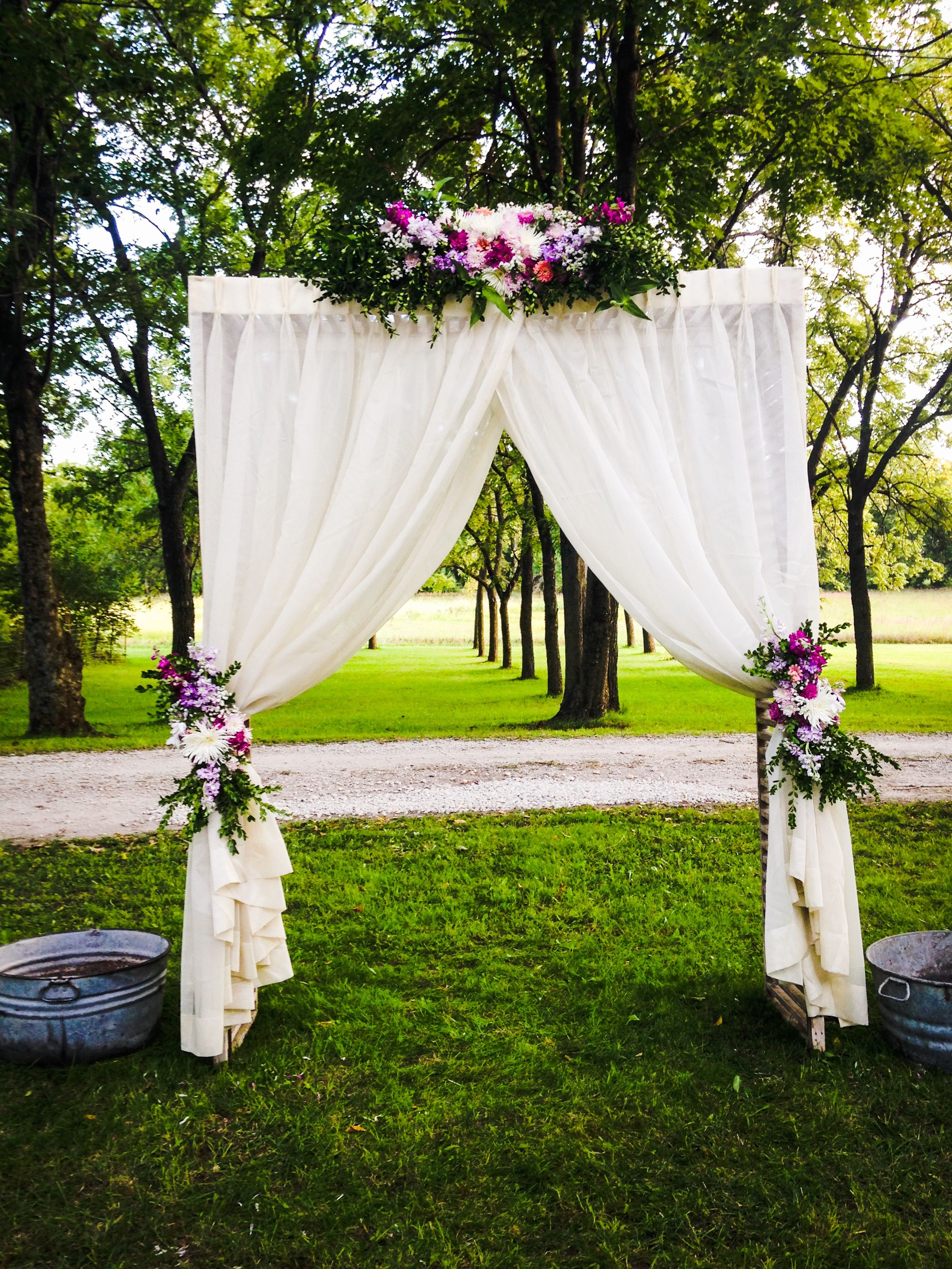 Floral Chuppah Arch Flower Tied Back Curtains Country