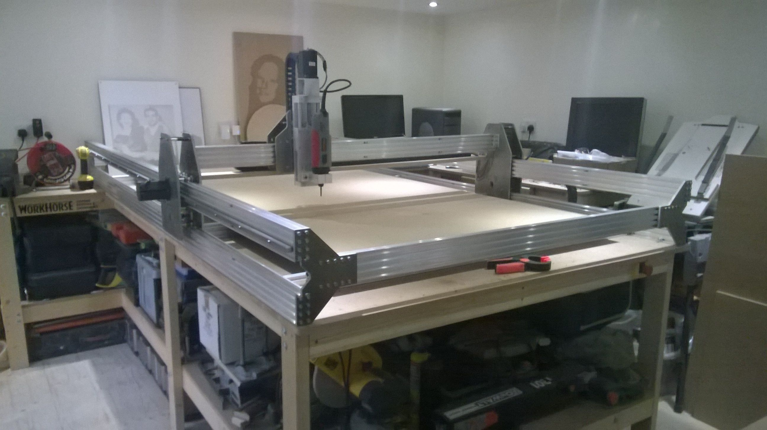 My home made cnc router, it takes a full 8' x 4' sheet of