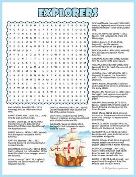 Famous World Explorers Word Search Puzzle | Word search ...