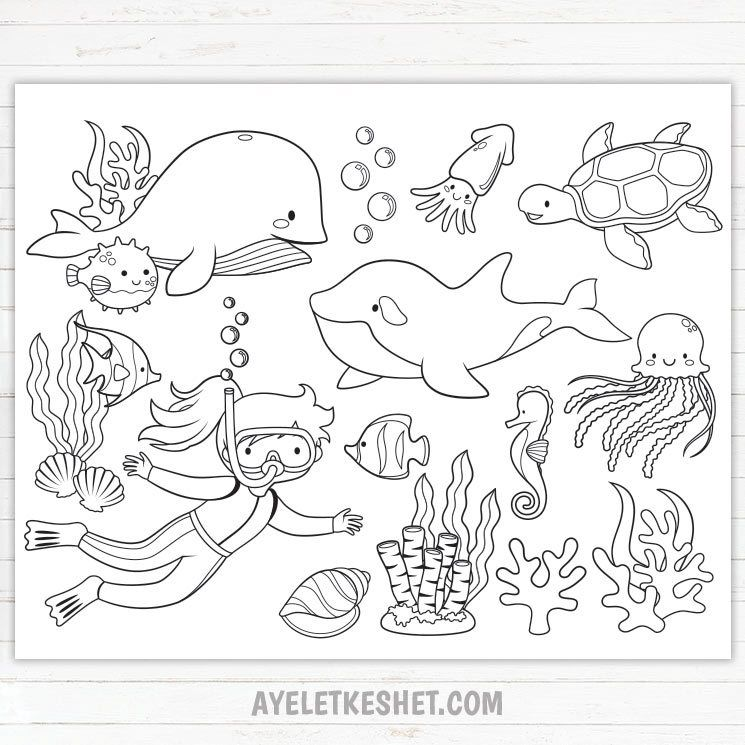 Under The Sea Coloring Pages Free Printables Ayelet Keshet Ocean Coloring Pages Free Kids Coloring Pages Coloring Pages