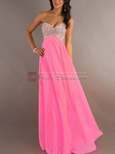 Lovely A-Line/Princess Sweetheart Rhinestone Sleeveless Floor-length Chiffon Dress