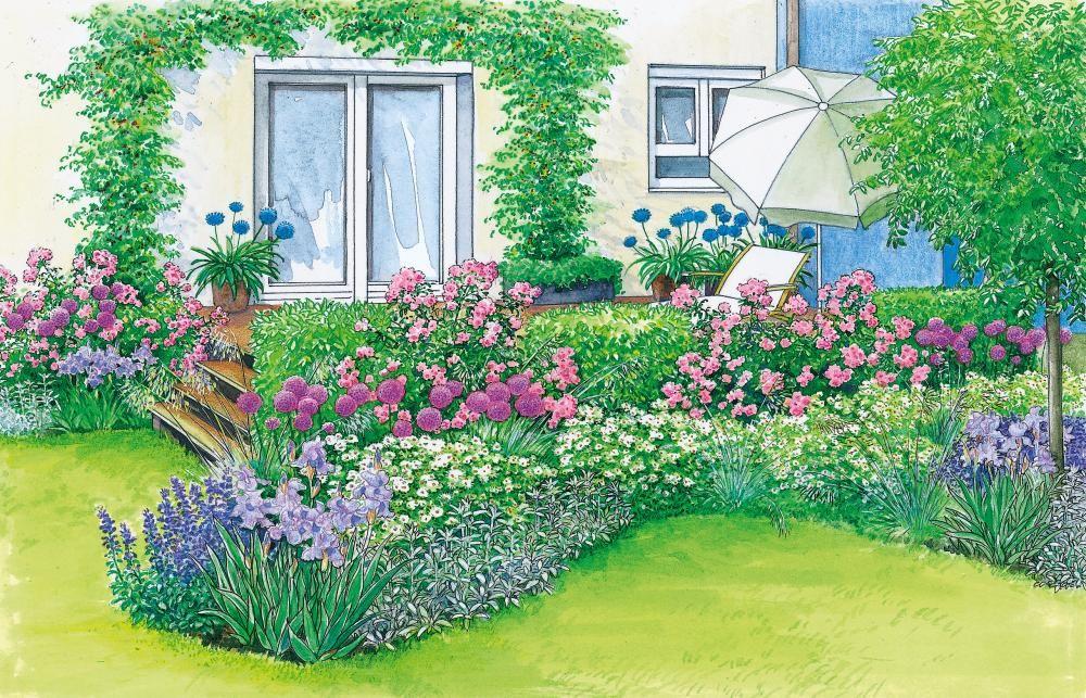 Harmonische Terrassen-Gestaltung | Bed design, Front yards and Yards