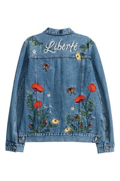 Embroidered Denim Jacket - Denim blue - Ladies   H&M US