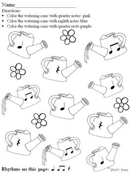 Music Worksheets: Music Math Spring into Rhythm 3