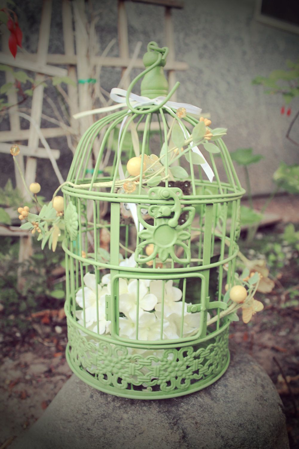 Metal Green Cottage Bird Cage Decorated Shabby Chic For