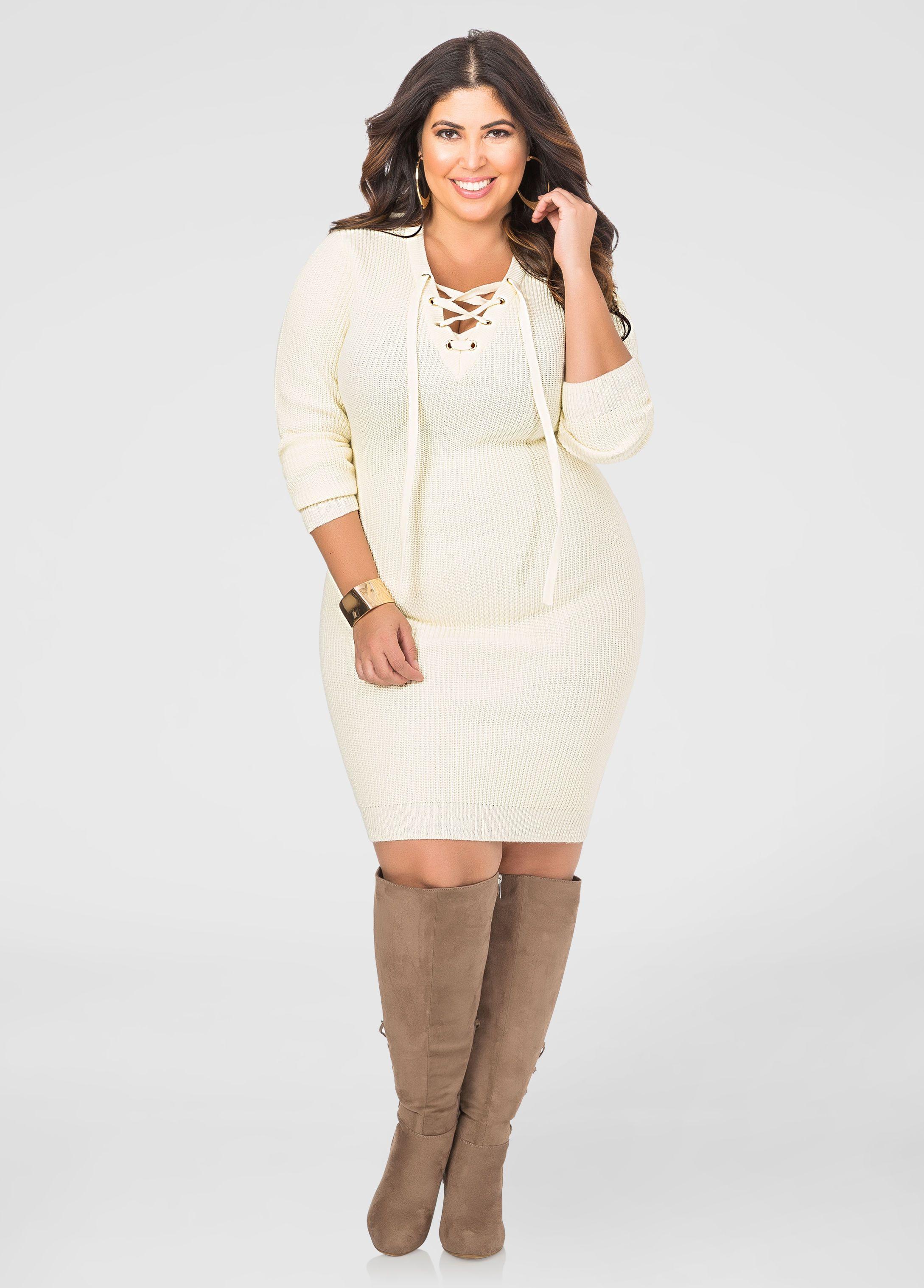 7a1ac1aaf8 Lace-Up Bodycon Sweater Dress - Ashley Stewart