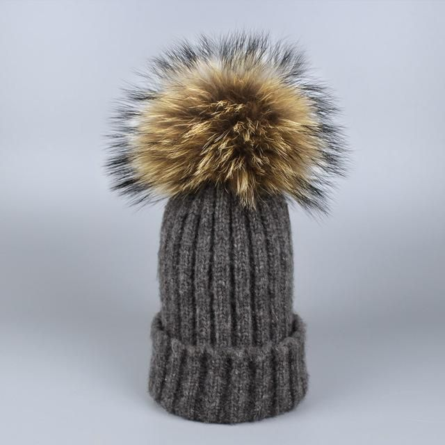 089b0eaf36f 2017 Real Mink Fur Pom Poms Knitted Hat Ball Beanies Winter Hat For Women  Girl s Wool