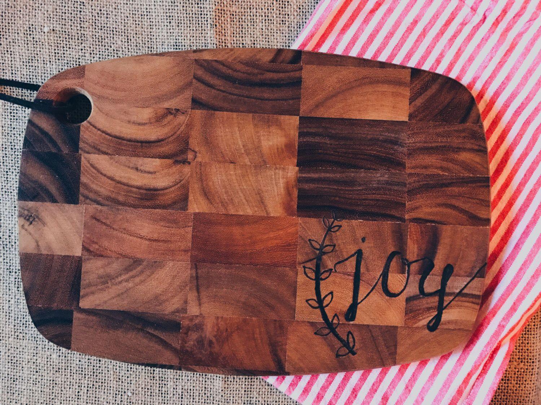 """Woodburned """"Joy"""" platter by HammersandSpatulas on Etsy https://www.etsy.com/listing/476401032/woodburned-joy-platter"""