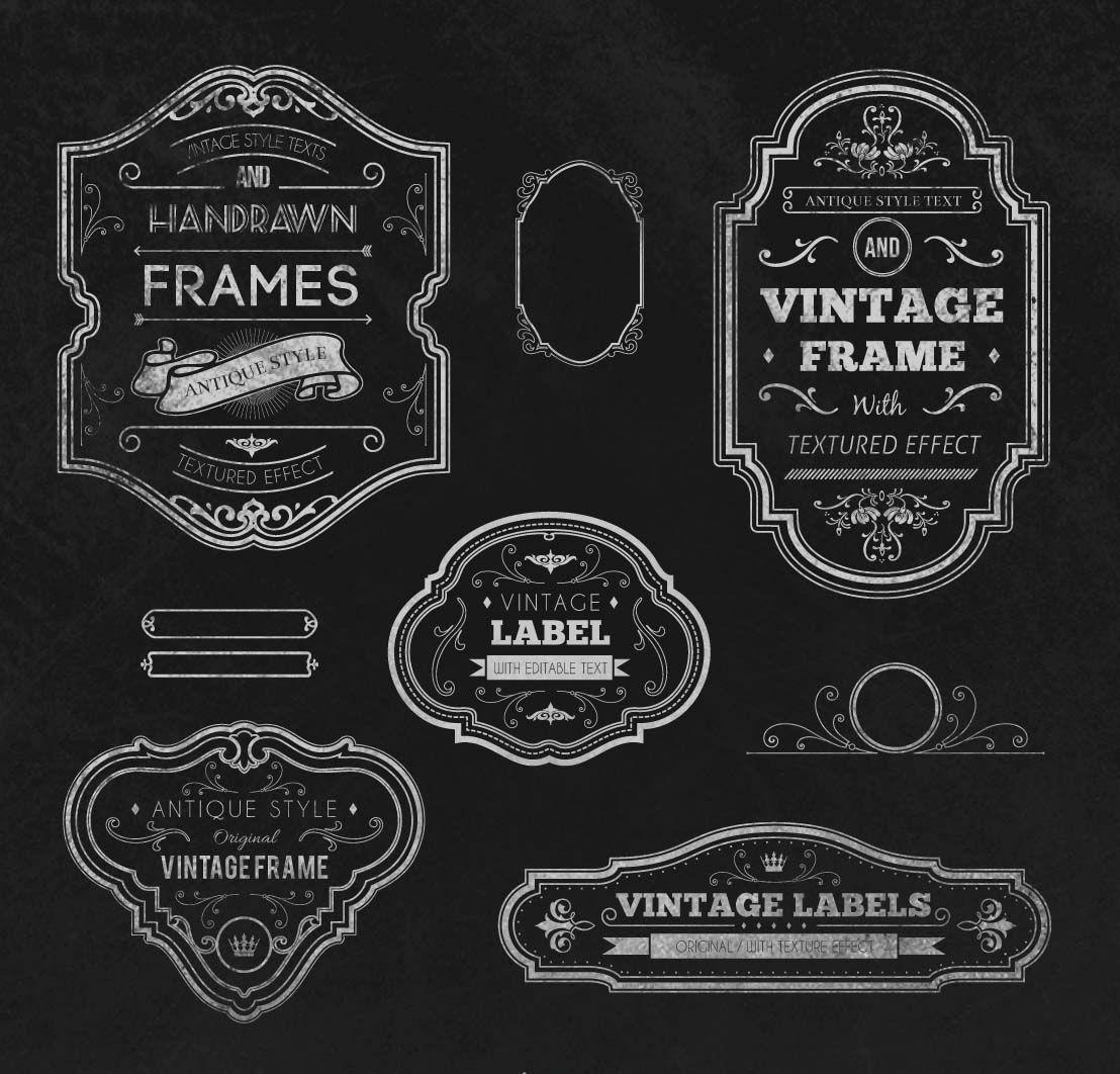 Vintage Handrawn Frames Set Vector Free Download Vintage Labels Vintage Frames Vector Vintage Banner