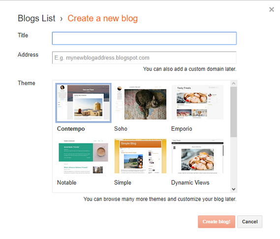Create a Free Blog on Blogger
