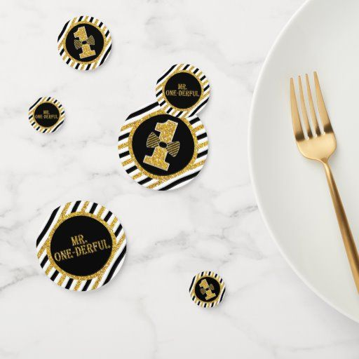 Mr. ONEderful Table Confetti in Black and Gold