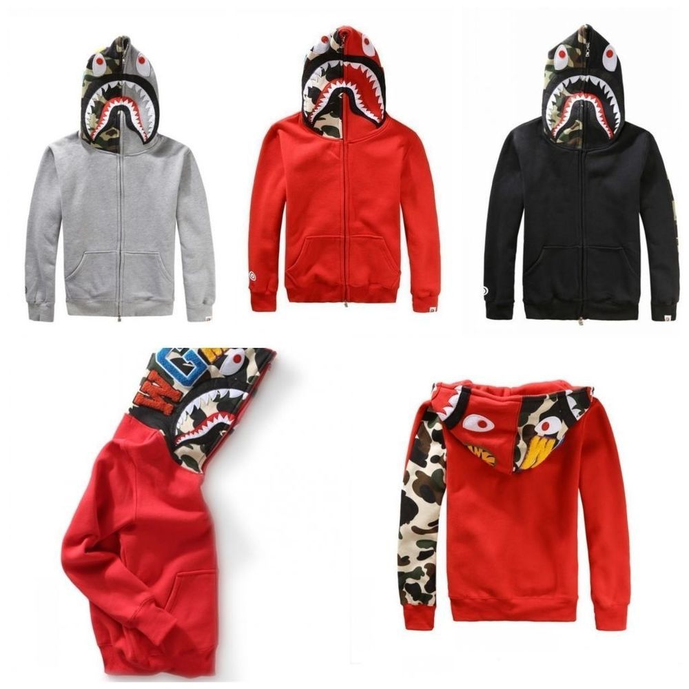 d13030d97281 Popular Bape A Bathing ape Jacket SHARK Head FULL ZIP HOODIE Long Sleeve  Coats
