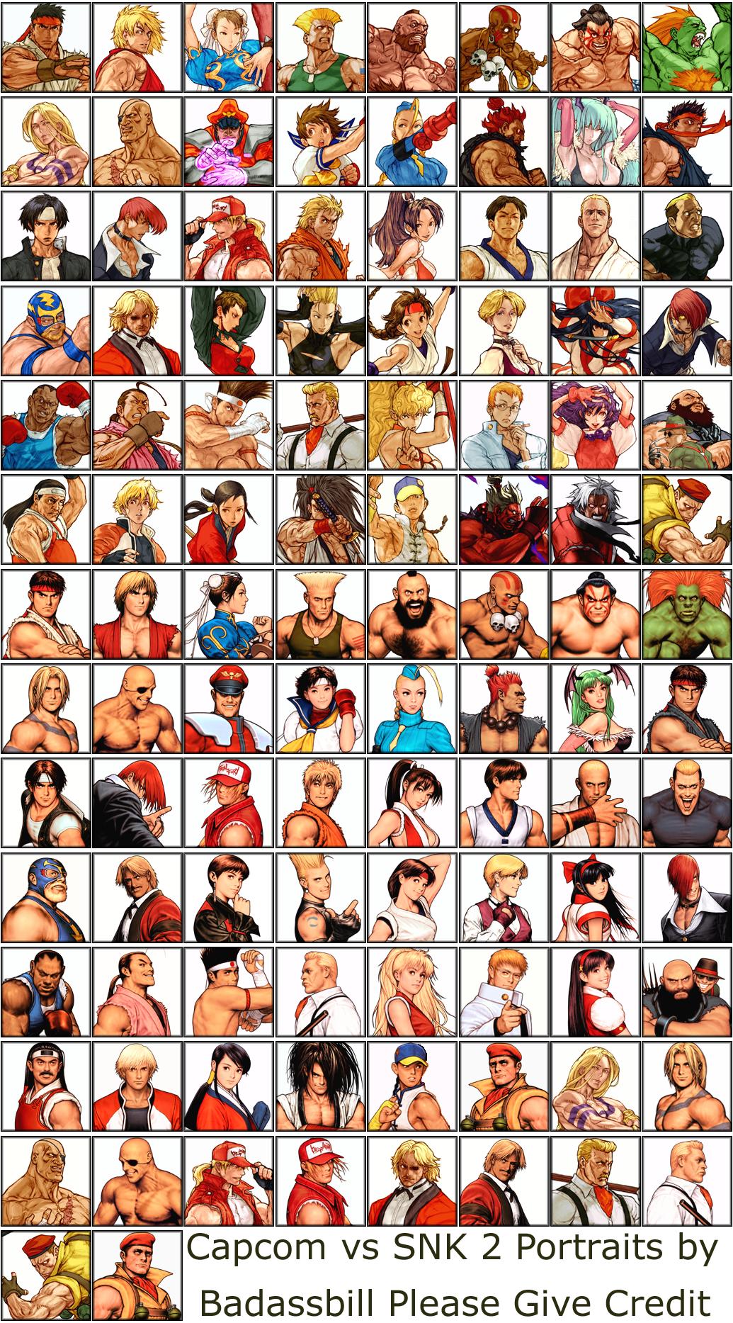 Capcom Vs Snk 2 Art For Top Characters By Capcom Designer Kinu