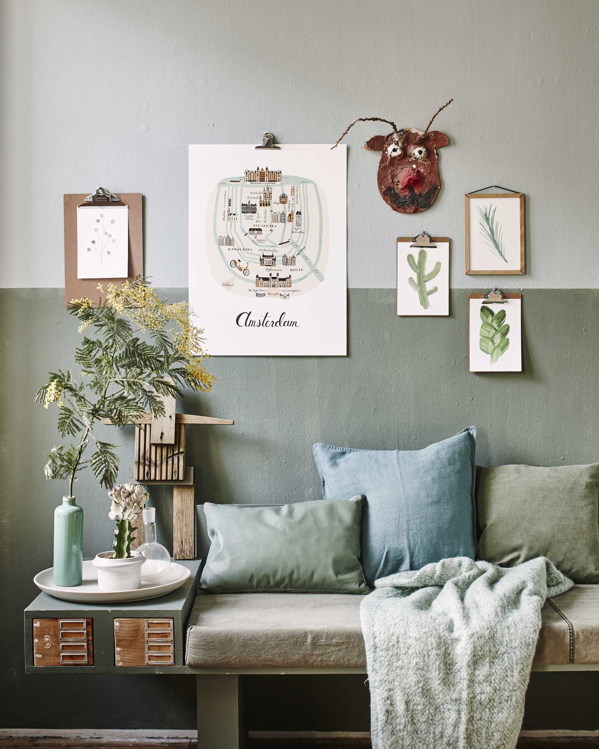 blauwgroene zithoek  interior inspiration  vtwonen