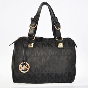 Michael Kors Satchel 2015 Black Buckled Zippered Grayson Logo