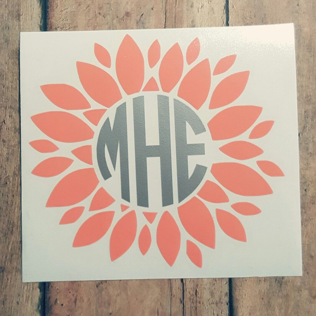 Sunflower monogram dahlia monogram flower monogram monogram decal flower decal monogram car