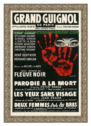 """Theater du Grand Guignol  Parodie a la Mort  1940's era poster from the legendary Paris theater. Reproduced as a limited edition, produced exclusively by Transmission Atelier.;  24"""" x 36"""". $550"""