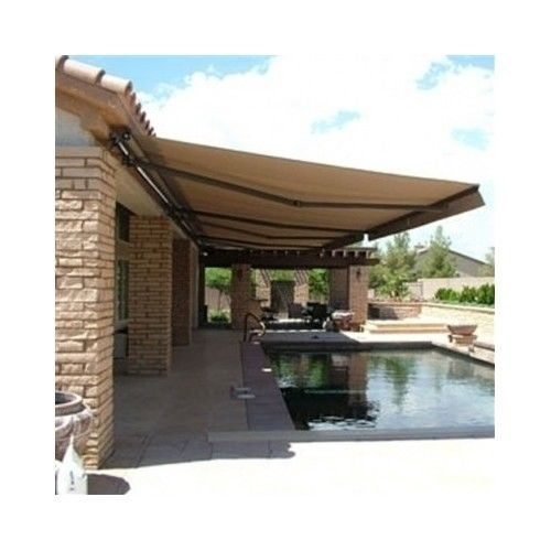 Retractable Patio Awning Canopy Outdoor Deck Sun Shade Sand Color Manual 12x10 Pergola Patio Pergola Backyard Pergola
