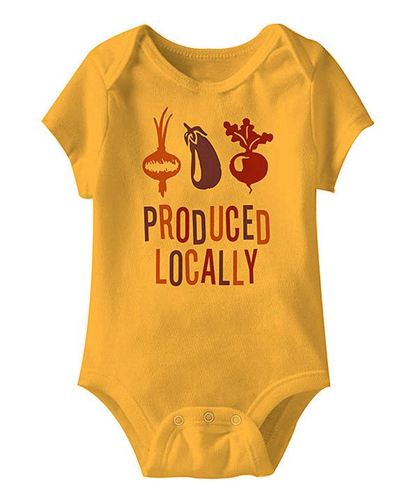 845d6965604e Look at this Gold  Produced Locally  Bodysuit - Infant on  zulily ...