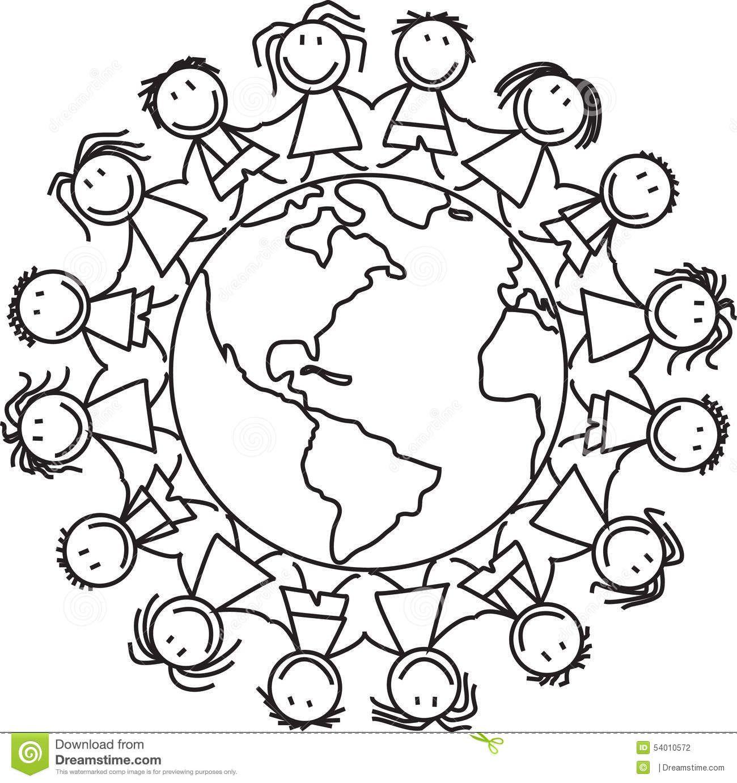 Globe Clipart Black And White Kids Deti Predskolske