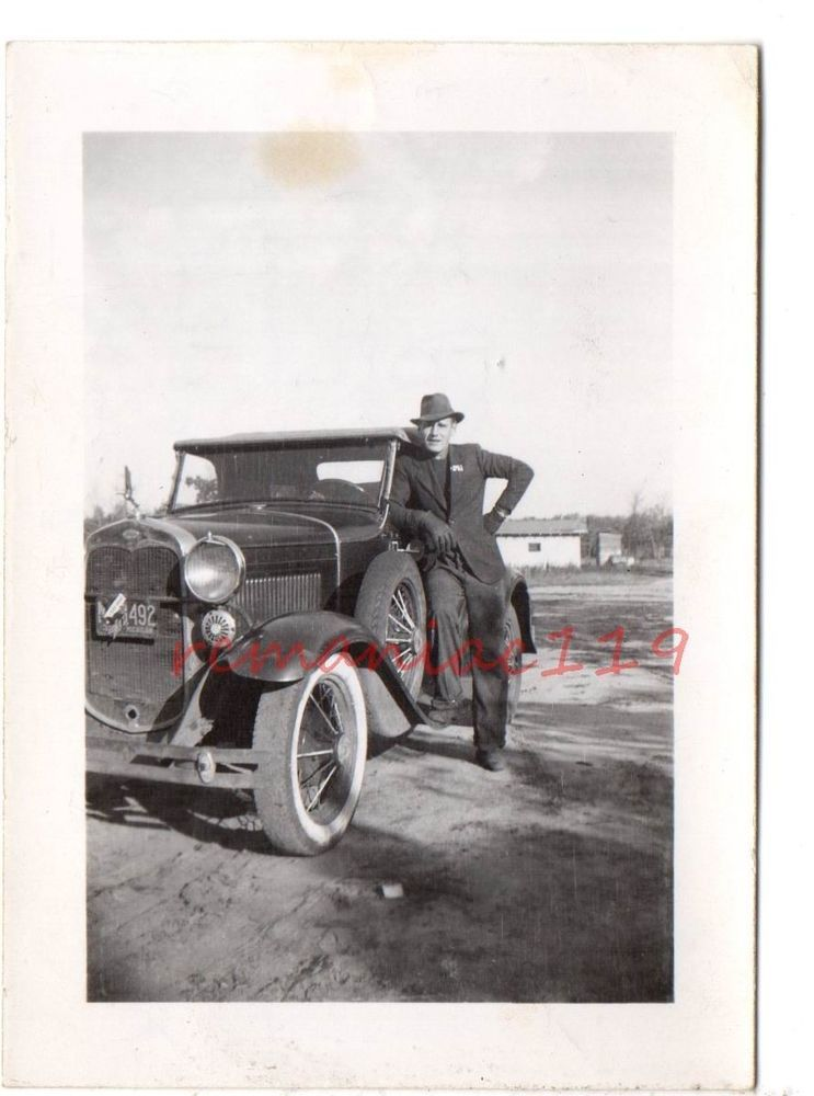 Vintage Photo HANDSOME MAN Michigan License Plate FEDORA Hat 1930s ...