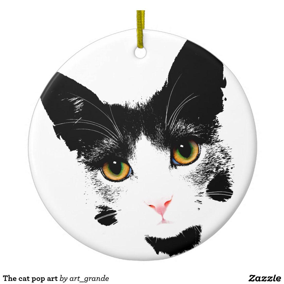 The cat pop art ceramic ornament