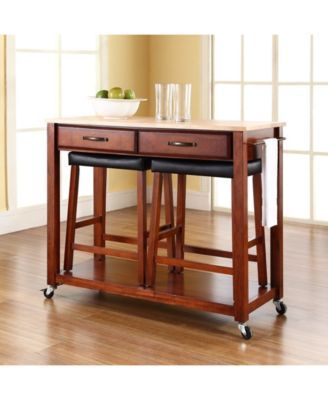 Natural Wood Top Kitchen Cart Island With 24 Upholstered Saddle