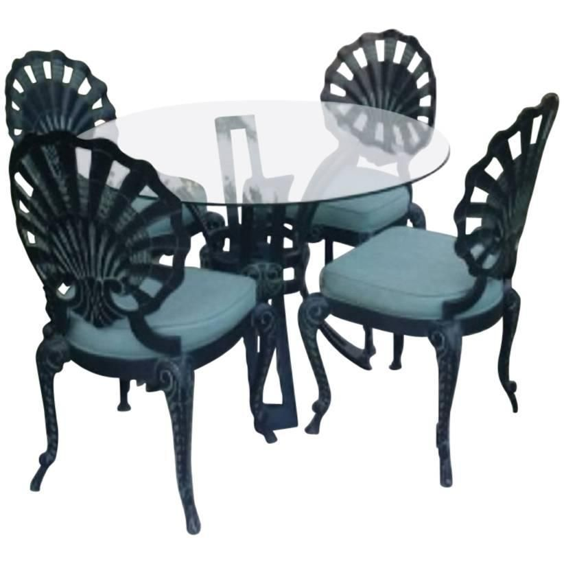 Brown Jordan Five Piece Grotto Shell Back Metal Dining Table Chairs Patio Set