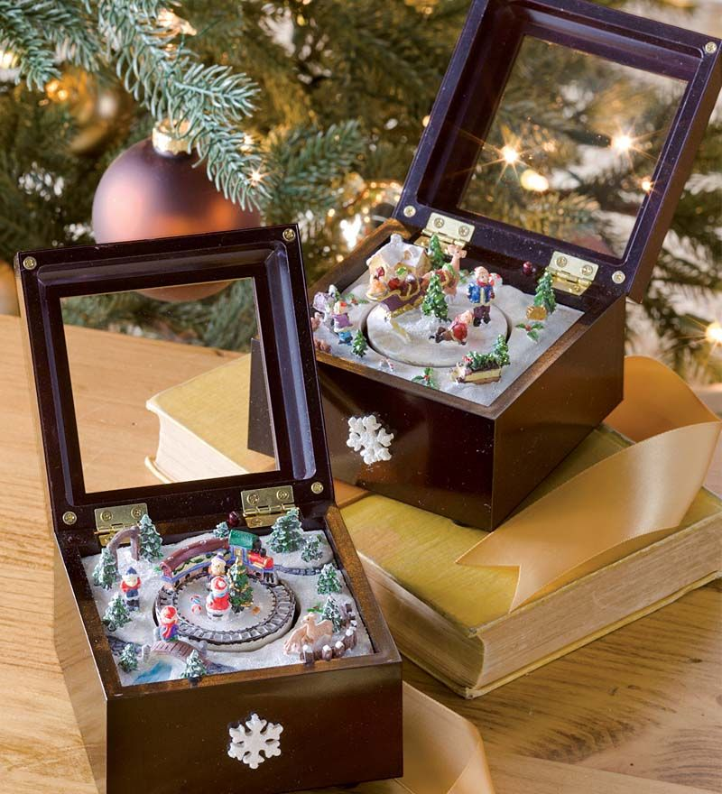 Miniature Animated Christmas Music Boxes In Train Or Santa