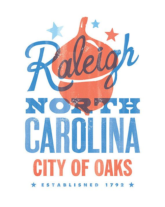 Ah! Not letter-pressed. Why design a digital print when one could actually have fun letter press printing it!    RALEIGH CITY of OAKS Print - 8x10