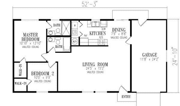 1000 Sqaure Feet 2 Bedrooms 2 Bathrooms 1 Garage Spaces 53 Width